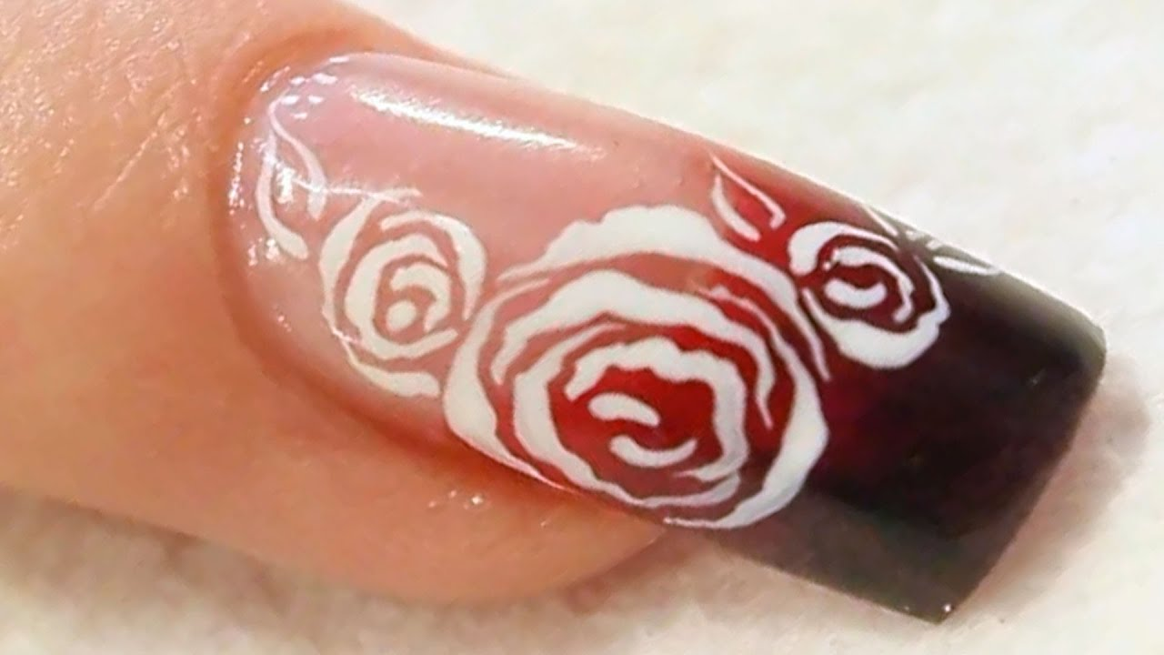 Black and Red Acrylic Nail with White Roses Tutorial - YouTube
