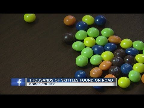 Hundreds of thousands of red Skittles mysteriously spilled on Dodge County road