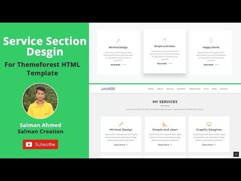 Service Section Design - Themeforest HTML Template Coding Bangla
