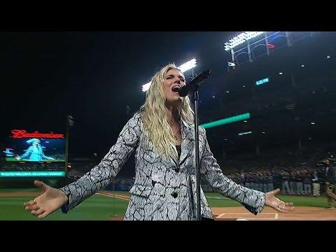 WS2016 Gm4: Julianna Zobrist sings at Game 4