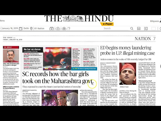 18 January 2019 Current Affairs The Hindu  Important Headlines  by Mrs Bilquees Khatri