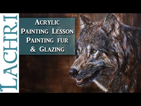 How to paint fur - Acrylic Wolf Painting Tutorial - Time Lapse Demo by Lachri