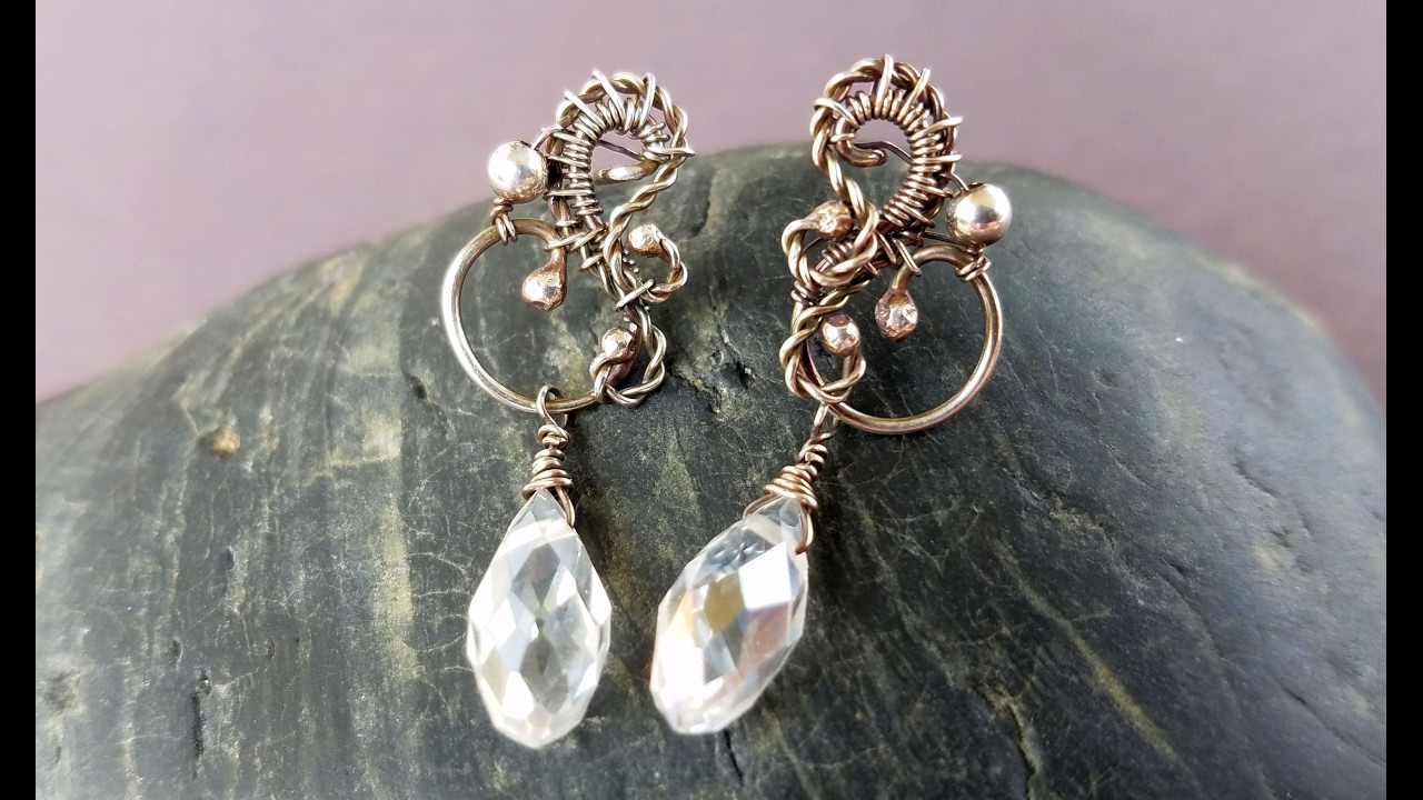 Wire Wrapping Tutorial - Allora Post Earrings - YouTube