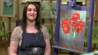 Poppies in Glass floral oils - Paint With Maz Online Classes