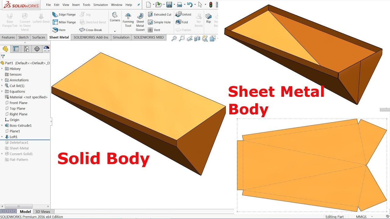 Solidworks Sheet Metal Tutorial Convert Solid Body Into