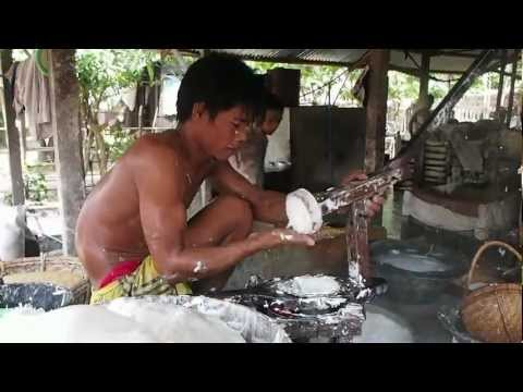 The production process of the rice noodles in Yangon
