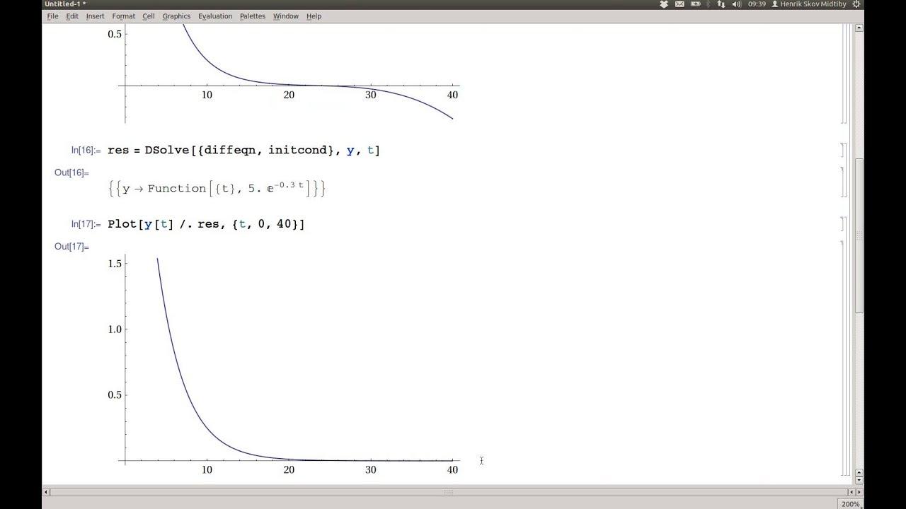 Differentialigninger løsning med NDSolve og DSolve i Mathematica