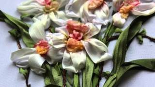 Orchids ribbon Embroidery Art - Вышивка лентами орхидеи - Needlework Art - Floral embroidery Art
