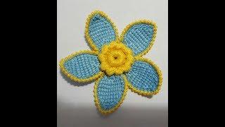 Цветок крючком тунисским столбиками для ирландского кружева