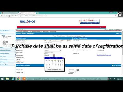 Reliance motor policy issuance process in CSC portal