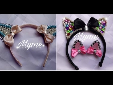 Orejitas de gato diadema broches hairbows bows tutoriales - Manualidades de gatos ...
