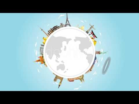 Landmarks on the Globe - Tourism and Vacation Theme Motion Graphics