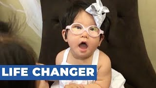 Baby Girl Wears Glasses for First Time