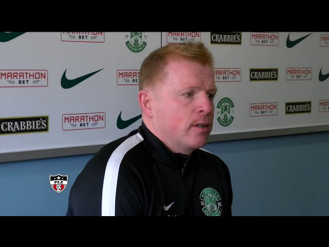 An emotional Neil Lennon after Hibs win Championship