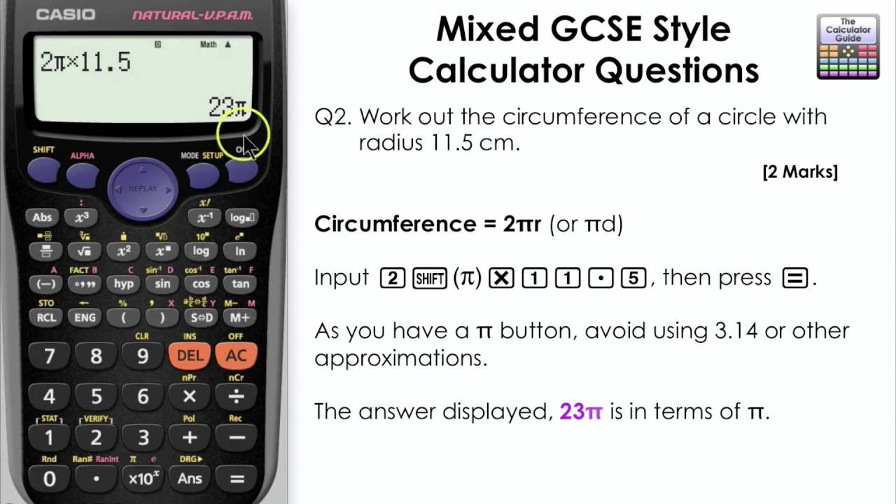 How to calculate the circumference of a circle casio calculator how to calculate the circumference of a circle casio calculator gcse maths fx 83gt plus fx85gt falaconquin