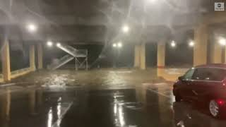 Parking garage underwater after Zeta makes landfall