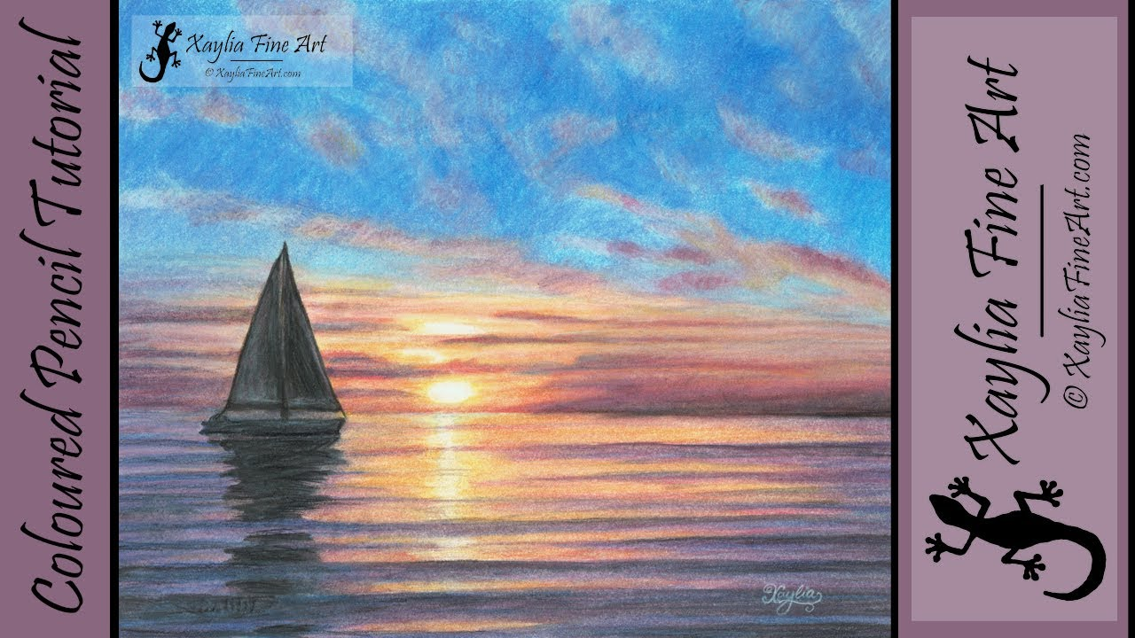 Tutorial how to draw an ocean sunset in coloured pencils call of the sea