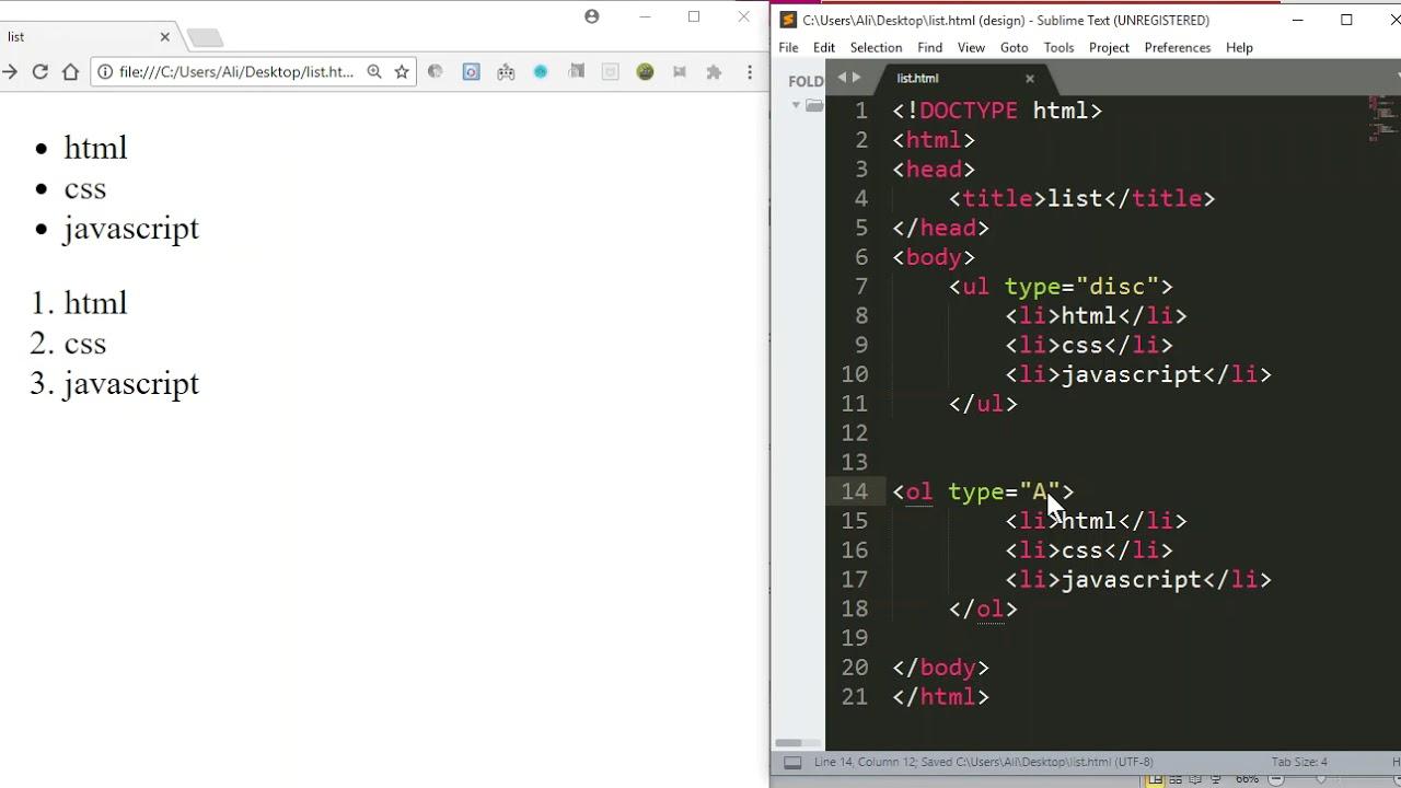 html ul ol dl
