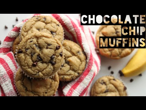 Healthy Chocolate Chip Banana Bread Muffins | How To Make Low-Fat Chocolate Chip Muffins