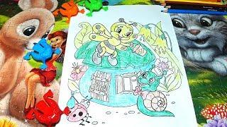 РАСКРАСКИ! Раскрашиваем картинки для малышей, домик для улитки, домик для пчелки
