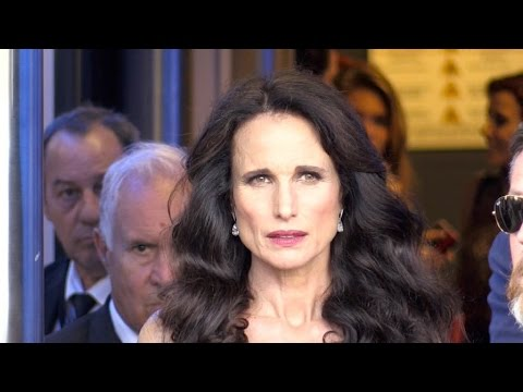 Andie Macdowell coming out of the Palais des festival in Cannes