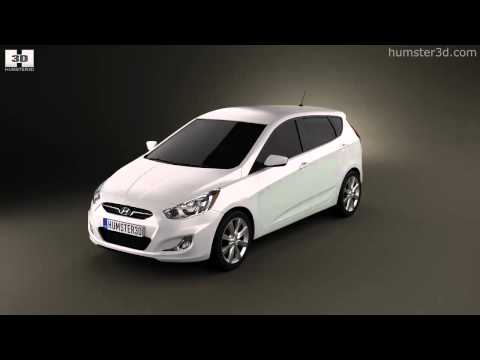 Hyundai Accent i25 Hatchback 2012 by 3D model store Humster3D.com