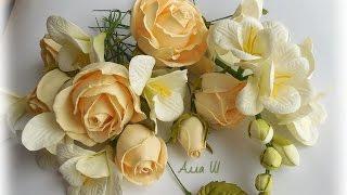 МК Гілочка фрезії і троянди із фоамірану. МК Веточка фрезии и розы из фоамирана.