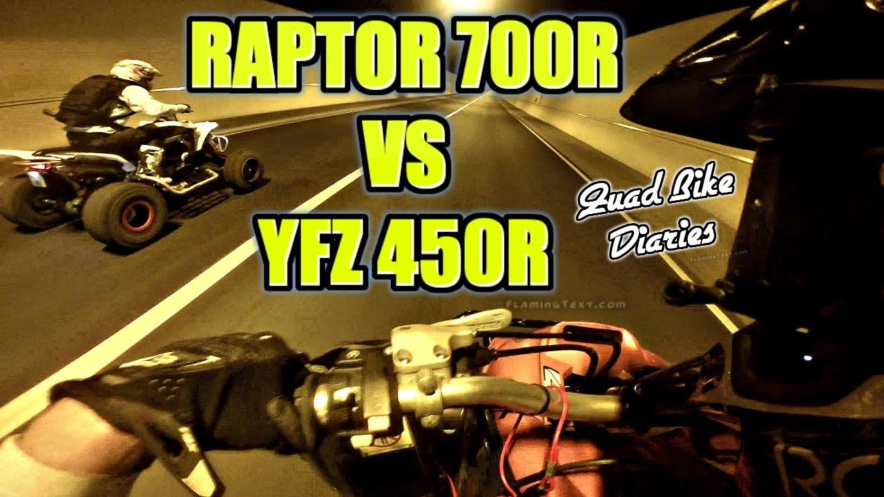 Atv Street Racing Yamaha Raptor 700r Vs Yfz 450r Youtube