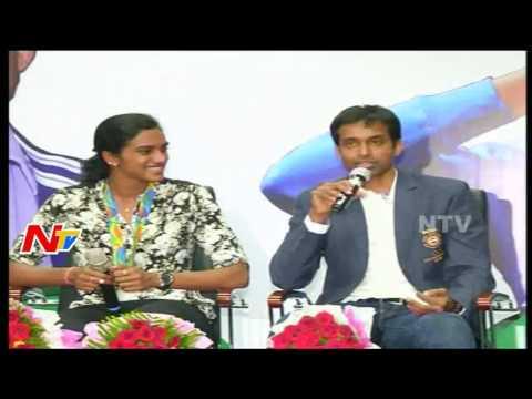 P V Sindhu and Pullela Gopichand Full Speech From Gopichand Badminton Academy || NTV