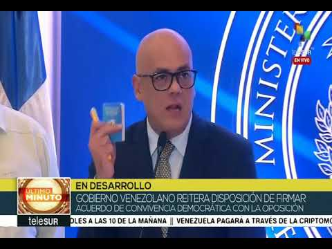 Declaraciones de Jorge Rodríguez, 6 febrero 2018: Borges no firmó tras llamada de Rex Tillerson