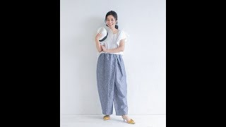 TP042 ラップ風タックパンツ Wrapped tuck pants https://pattern.handm...