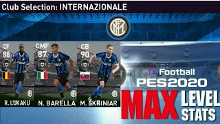 Max Stats Of Inter Milan Club Selection Players | PES 2020