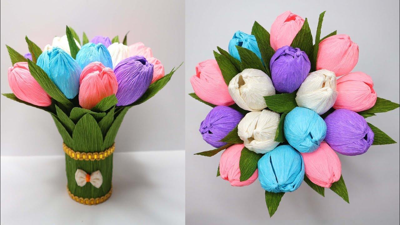 Cara Membuat Buket Bunga Tulip Dari Kertas Krep Crepe Paper Flower Youtube