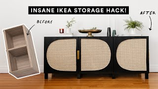 DIYing VIRAL PINTEREST HOME DECOR - Abstract Woven Cane Storage Console (IKEA HACK)