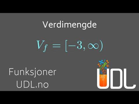 Funksjoner 5 - Verdimengde til en funksjon