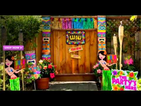 Diy hawaiian party decorating ideas youtube for How to make luau decorations at home