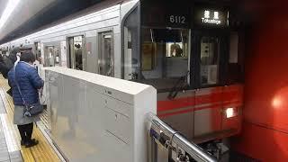 名古屋市営地下鉄桜通線・名城線 久屋大通駅3番ホームに6000形が到着
