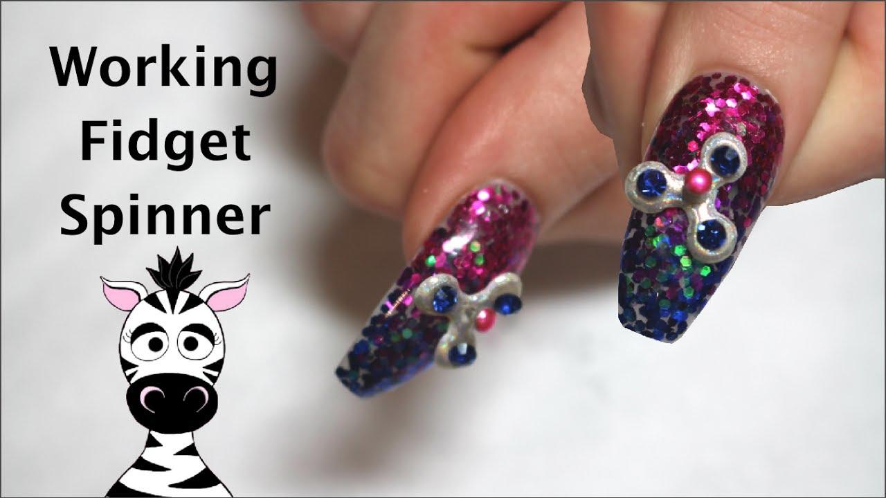 4d Fidget Spinner Acrylic Nail Art Tutorial Enjoyours