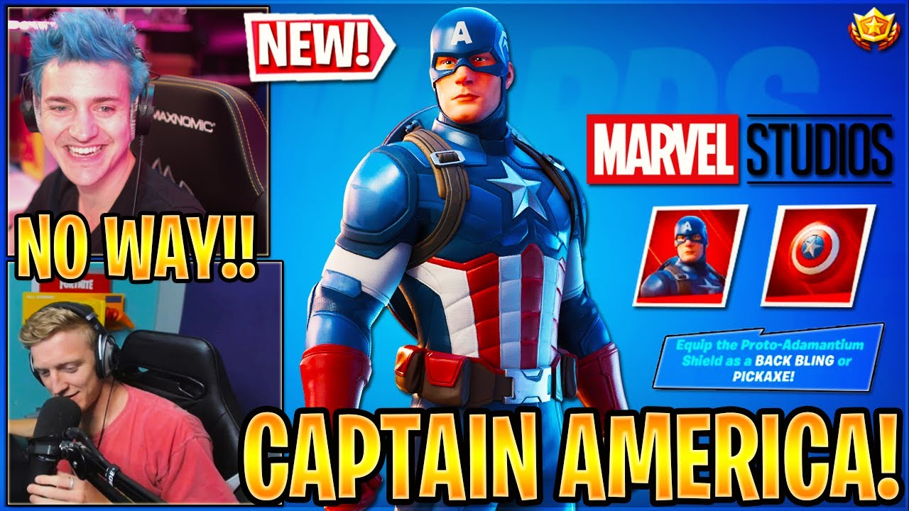 "Streamers React and Get the *NEW* ""CAPTAIN AMERICA"" SKIN in Fortnite"