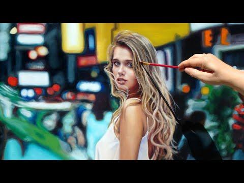 TIME LAPSE PHOTO REALISTIC ART OIL PAINTING VIDEO - woman portrait by Isabelle Richard