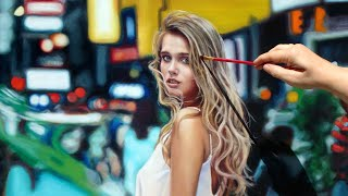 TIME LAPSE PHOTO REALISTIC ART OIL PAINTING VIDEO - woman portrait by Isabelle Richard