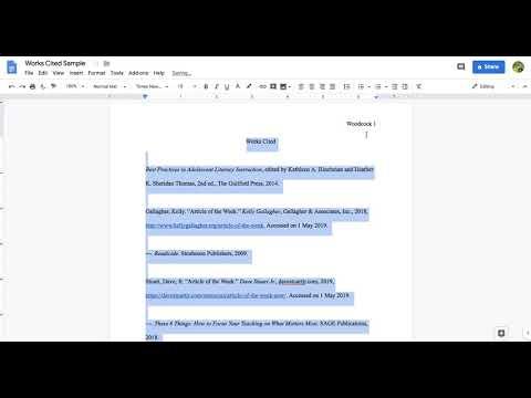 MLA Works Cited Page on Google Docs