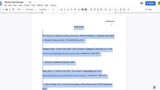 MLA Works Cited Pąge on Google Docs