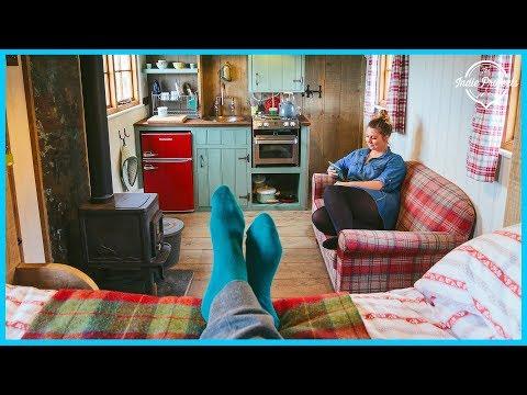 Woman Built a Beautiful Rustic TINY HOUSE - Tour!