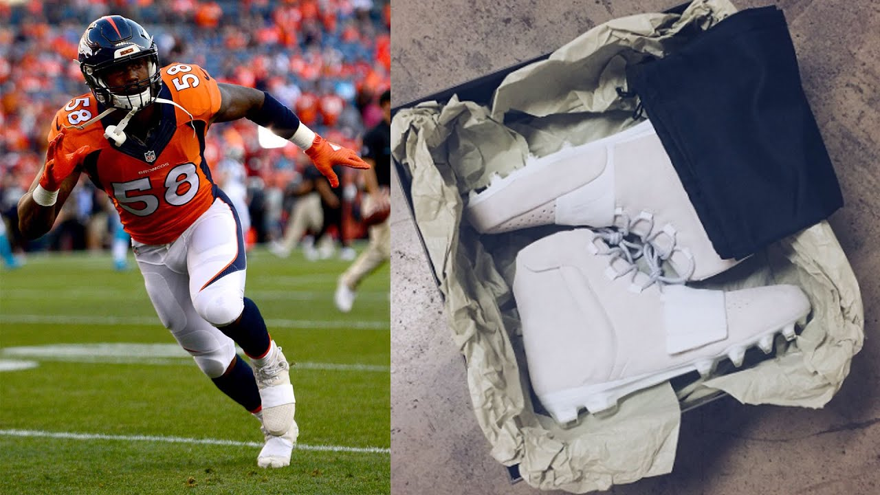 Von Miller Debuts Kanye West Yeezy Cleats - YouTube