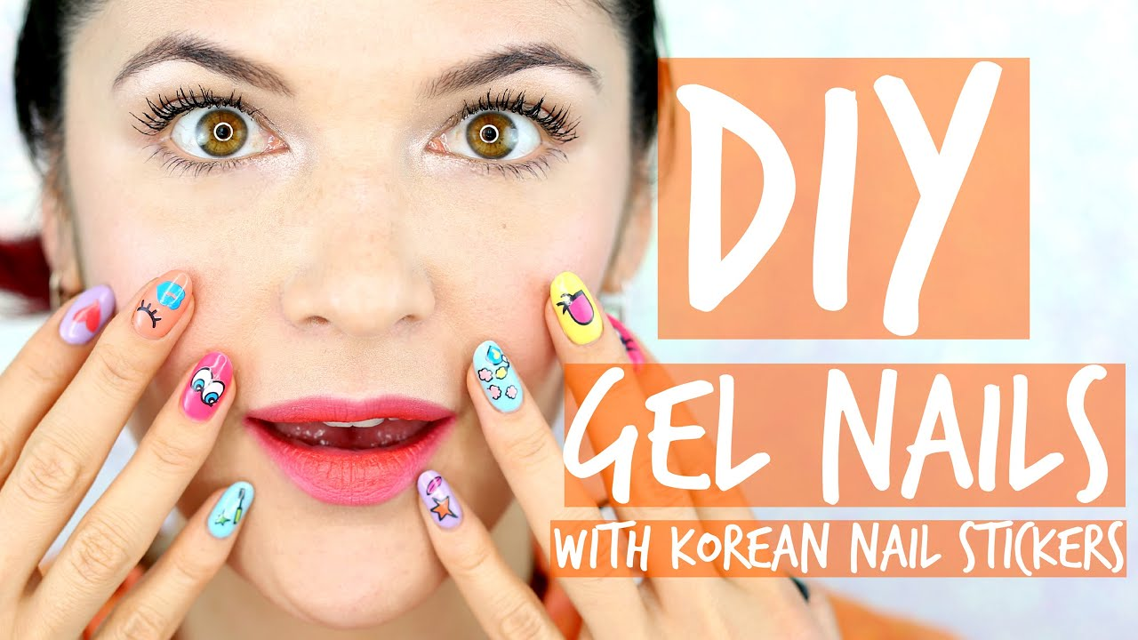 DIY Gel Nails With Korean Nail Stickers - YouTube