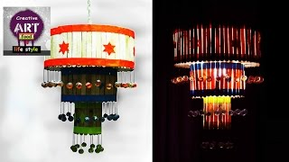 DIY pendent lamp/lantern | how to make a pendant light out of popscile sticks | Art with  Creativity