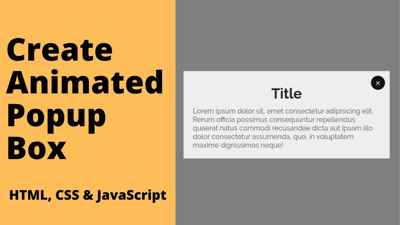 How to Create Animated Popup Box / Modal using HTML, CSS & JavaScript