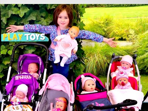 My Baby doll Stroller Collection – little girl playing baby dolls w/push chair toy stroller pram