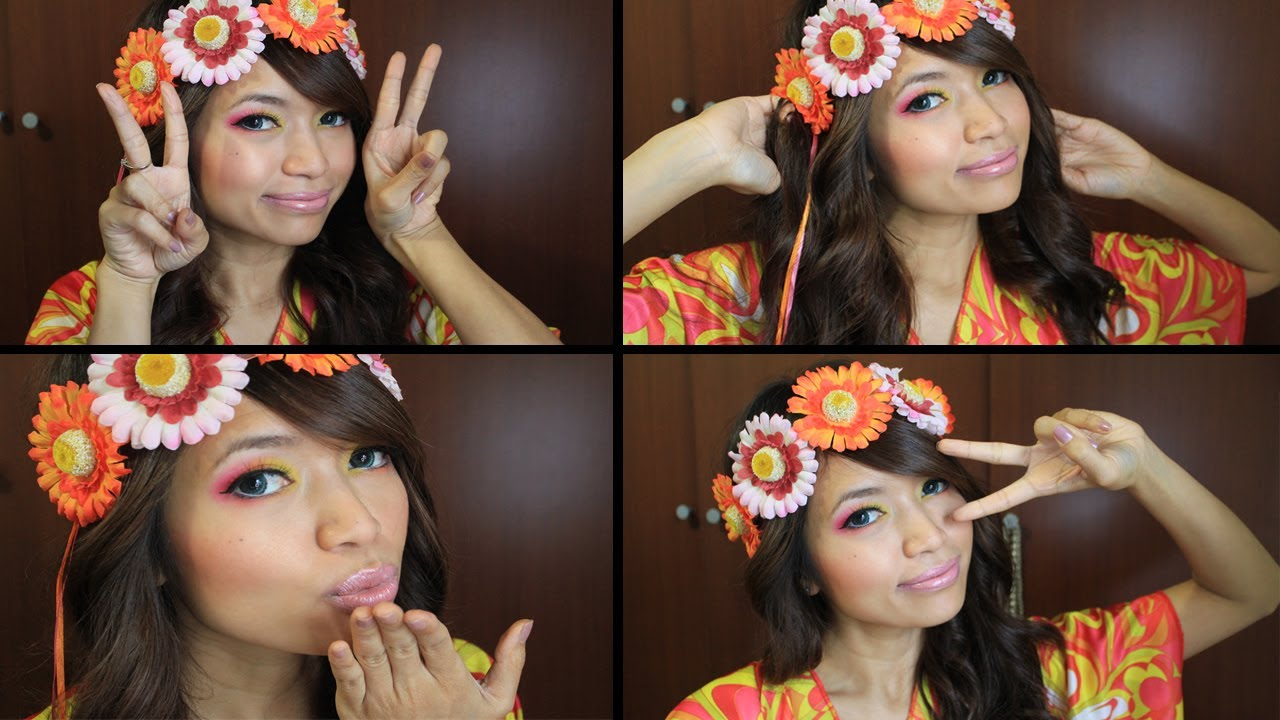 Hippie Flower Child Halloween Makeup Tutorial - YouTube